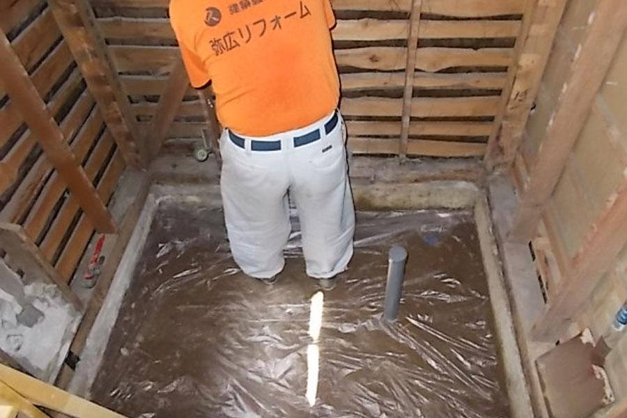 画像:施工中 土間コンクリート打ち込み前