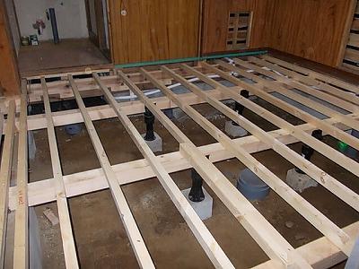 画像:施工中 床束・大引き・根太の交換後