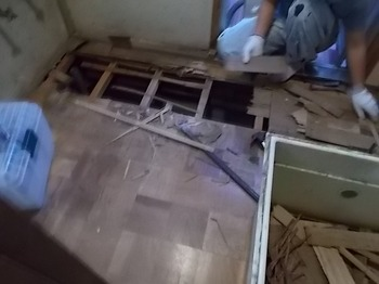 画像:施行中 既存の床を撤去中