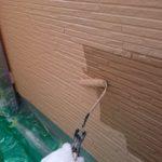 施行中 外壁中塗り中(二回目)